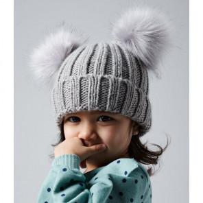 Beechfield Infant Faux Fur Double Pom Pom Beanie