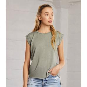 Bella Ladies Flowy Rolled Cuff Muscle T-Shirt