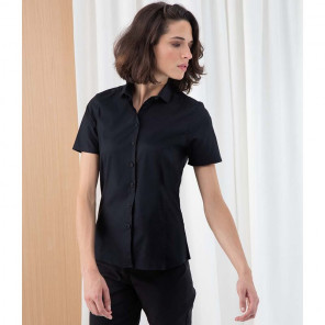 Henbury Ladies Short Sleeve Stretch Poplin Shirt