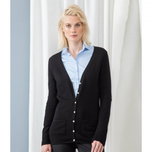 Henbury Ladies Cotton Acrylic V Neck Cardigan