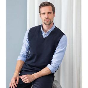 Henbury Lightweight Sleeveless Cotton Acrylic V Neck Sweater