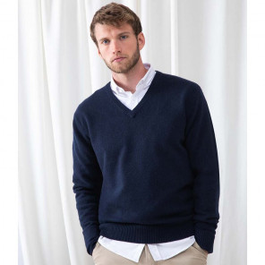 Henbury Lambswool V Neck Sweater