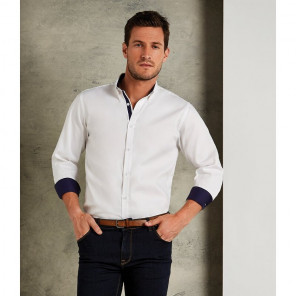 Kustom Kit Premium Long Sleeve Contrast Tailored Oxford Shirt