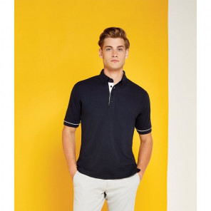 Kustom Kit Button Down Collar Contrast Piqu	é Polo Shirt