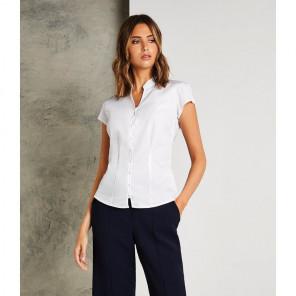 Kustom Kit Ladies Cap Sleeve V Neck Tailored Continental Blouse