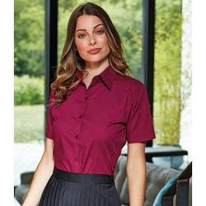Premier Ladies Short Sleeve Poplin Blouse