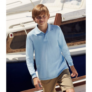 Fruit of the Loom Kids Long Sleeve Poly/Cotton Piqué Polo Shirt